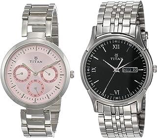 Titan Analog Couple's Watch (Black, NK2480SM05 +NK1636SM01))