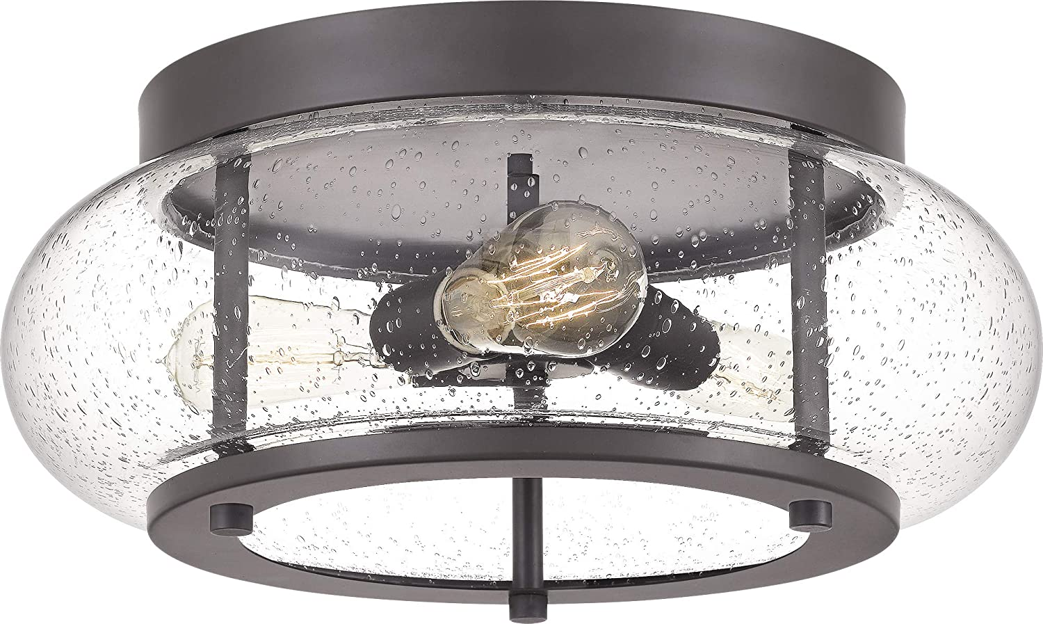 Quoizel Trg1616oz Trilogy Glass Lantern Flush Mount Ceiling Lighting 3 Light 225 Watts Old Bronze 7 H X 16 W Home Improvement