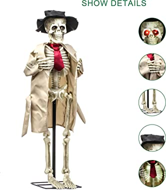 40inch Electronic LED Skeleton Ghost West Halloween Decoration,Can Open Hands with Creepy Sounds,Indoor/Outdoor Halloween Dec
