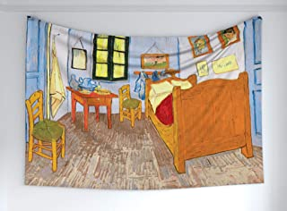 Ambesonne Art Tapestry, Painting Style Room Interior with Bed Hanged Pictures Table and Chairs Near The Window, Fabric Wall Hanging Decor for Bedroom Living Room Dorm, 60