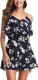 MISSMOLY Rompers for Women Sleeveless Floral Printed Adjustable Strap Cold Shoulder Summer Cute Jumpsuits