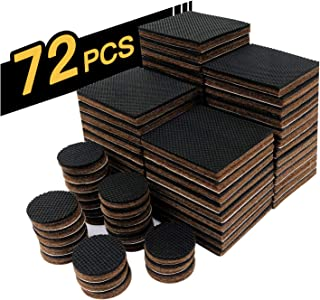 """Non Slip Furniture Pads 48 PCS 2/"""" HN STG Furniture Gripper,24 Pieces 1inch Anti Skid Round Rubber Pads.Best Self Adhesive Square Pads Protector Hardwood Floors.for Chair Sofa Bed 48 Square+24 Round"""