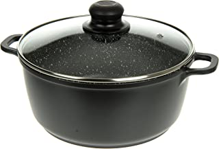 Professional Die-Cast Aluminum Casserole - 8QT - Induction Bottom, Extra Thick Gauge, Ultra Non-Stick Stone Finish, Glass Lid with Steam Hole - By Unity