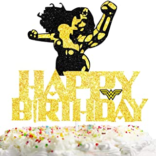 Super Women Cake Topper Happy Birthday Theme Gold Glitter Decor Picks for Kids Birthday Cartoon Party Decorations Supplies