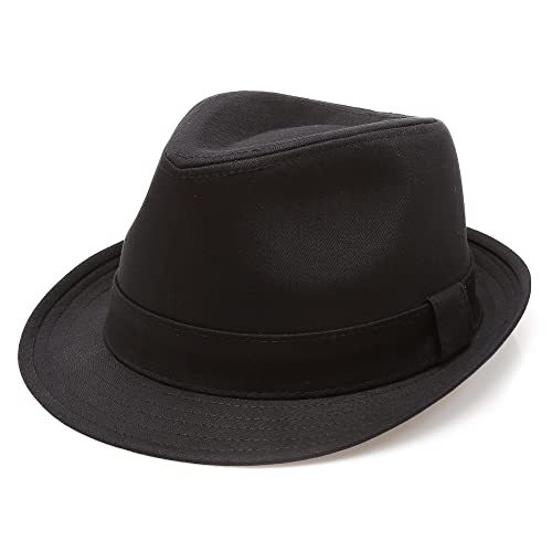 MIRMARU Classic Trilby Short Brim 100% Cotton Twill Fedora Hat with Band 16aaf942c2c