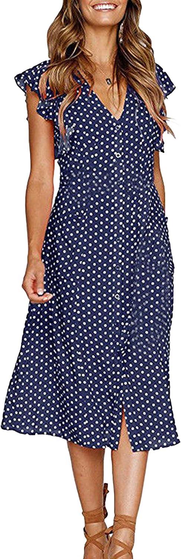 WIWIQS Summer Women Polk Dot V Neck Split Falbala Midi Casual Dress