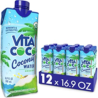 Vita Coco Coconut Water, Pure Organic | Refreshing Coconut Taste | Natural Electrolytes | Vital Nutrients | 16.9 Oz (Pack ...