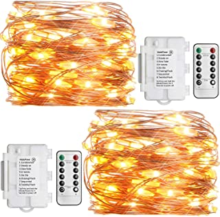 Koopower 2 Pack Outdoor String Lights 16ft 50 LEDs Battery Operated Fairy Lights 8 Mode Waterproof Copper Wire Lights for ...