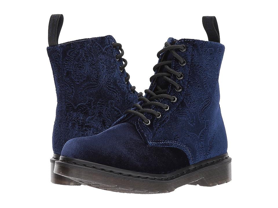 """""""Dr. Martens Pascal Velvet 8-Eye Boot (Navy Velvet 56"""""""") Women"""
