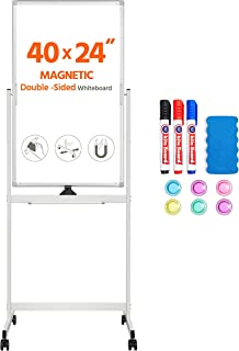 Yaheetech Rolling Magnetic Easel Whiteboard 40 x 24 Inch, Double Sided Dry Erase Board with Stand, Portable Large White Bo...