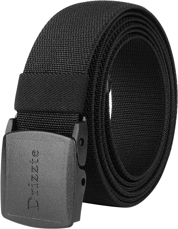 Drizzte 47-75inch Plus Size Stretch Web Nylon Dress Belt Belts Plastic Buckle Black