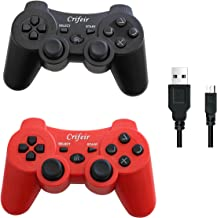 Crifeir 2 Pack Wireless Controller for Playstation 3 PS3 with Charger Cable(Red and Black)