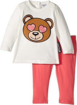 Moschino Kids Teddy Bear Heart Eyes T-Shirt & Leggings Set (Infant/Toddler)