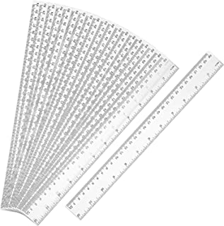 20 Pack Clear Plastic Ruler 12 Inch Straight Ruler Flexible Ruler With Inches and Metric for School Classroom, Home, or Office (Clear)