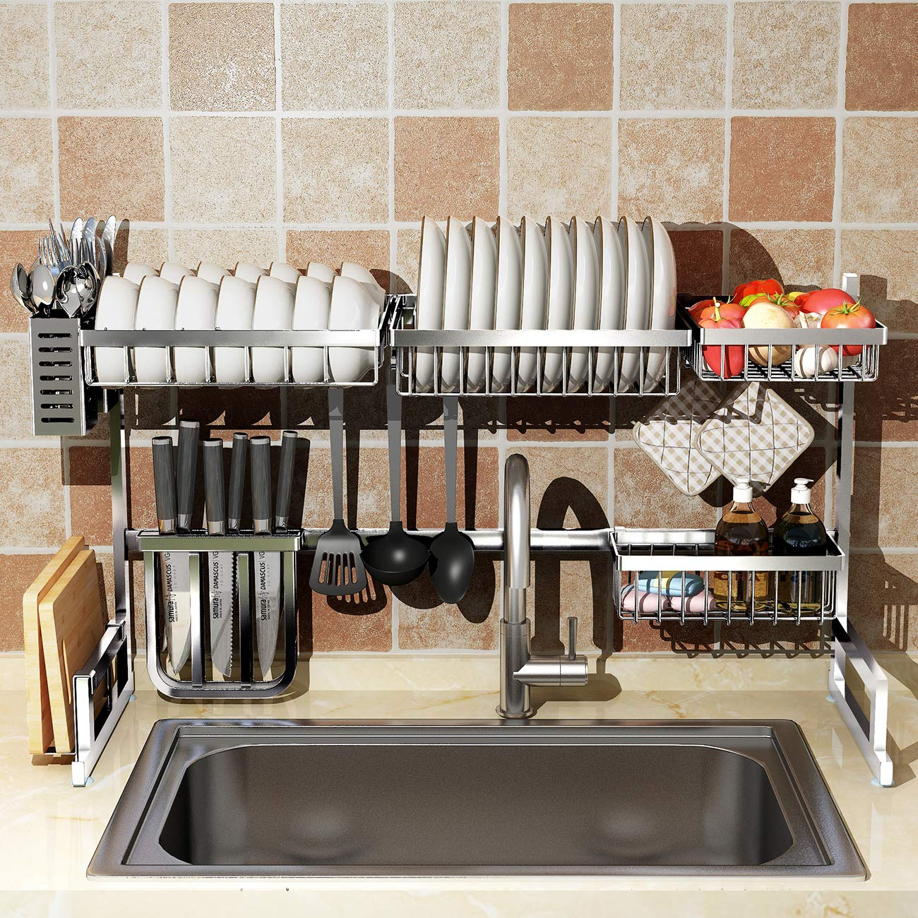Kitchen Over Sink Dish Drying Rack Shelf Drainer Stainless Steel Cutlery
