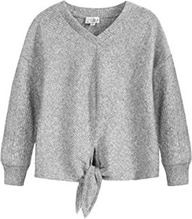 Girls Knot Front Top Long Sleeve Solid Tunic Shirt Kid Casual Fall Tee Size 5-12