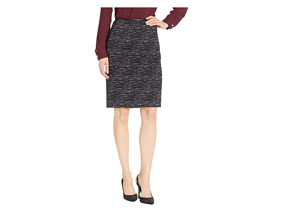 Calvin Klein Ponte Printed Skirt (Black/Cream) Women