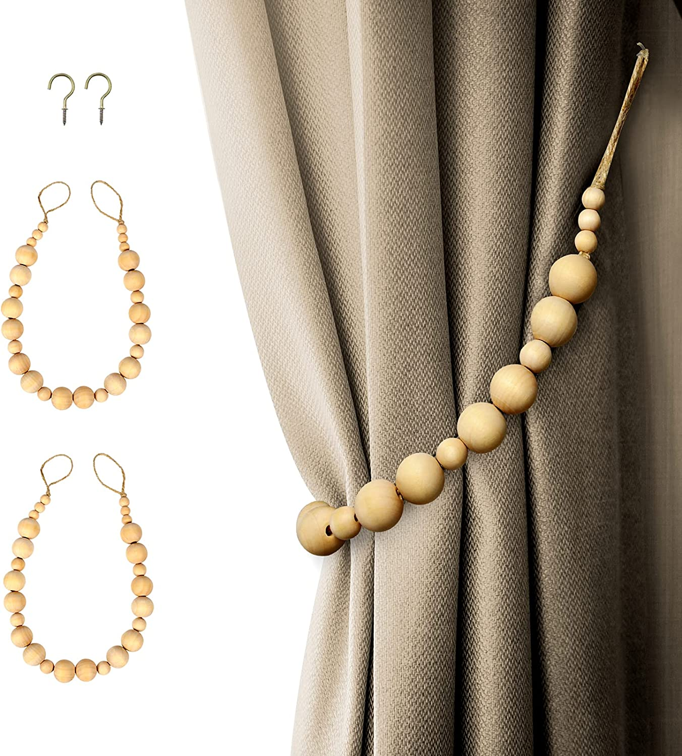 famous Wood Bead Curtain Tiebacks Luxury Wooden 2 H Brass Holder with
