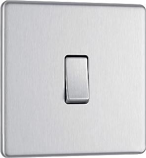 BG Electrical Screwless Flat Plate Single Light Switch, Brushed Steel, 2-Way, 10AX