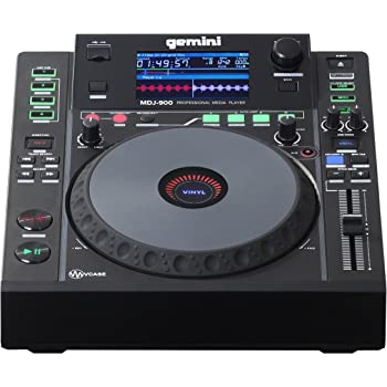 "Gemini MDJ Series MDJ-900 Professional Audio DJ Media Player with 4.3-Inch Full Color Display Screen, 8"" Jog Wheel, and Programmable Hot Cues"