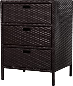 "Outsunny 32"" Poolside Rattan Wicker Patio Organizer Storage Cabinet with 3 Large Drawers & Weather-Fighting Materials"