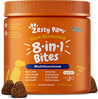 Zesty Paws Multivitamin Treats for Dogs - Glucosamine Chondroitin for Joint Support + Digestive Enzymes & Probiotics - Gra...