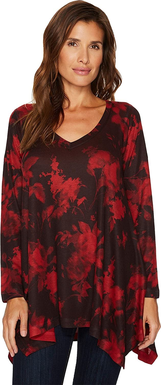 Nally & Millie Womens Red Print Tunic