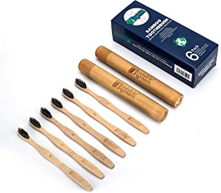 Bamboo Toothbrush by Invisible Footprints – Charcoal Zero-Waste Toothbrush with Travel Case – 6 Pack - No Plastic Toothbrushes with 2 Containers – Numbered Family Planet-Friendly Toothbrush Set