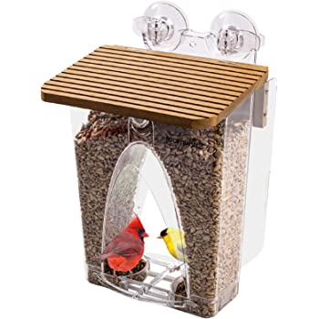 Roamwild Beautiful Arch Window Wild Bird Feeder with Huge 4LBS Capacity & Ultra Strong Dual Suction Technology for Outdoors with Drainage Holes & Window Protectors