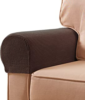subrtex Stretch Armrest Covers Spandex Anti-Slip Arm Covers for Chairs Sofa Armchair Slipcovers for Recliner Sofa with Twi...