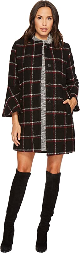 BB Dakota Hewes Plaid Coat with Bell Sleeves