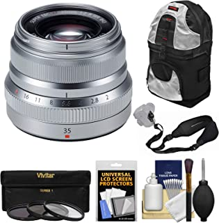 Fujifilm 35mm f/2.0 XF R WR Lens (Silver) with 3 Filters + Sling Backpack + Strap Kit for X-A2, X-E2, X-E2s, X-M1, X-T1, X-T10, X-Pro2 Cameras