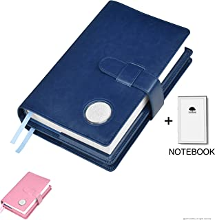Double AA Big Book Cover & 12 Steps & 12 Traditions | Medallion Holder | by Galileo | Perfect Gift | Alcoholics Anonymous | + Extra Notebook (Plain/Coin Pocket/Navy Blue)
