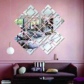 Best Decor 12 Attravacy Silver Code 738 Acrylic Mirror 3D Wall Sticker Decoration for Kids Room/Living Room/Bedroom/Offic...