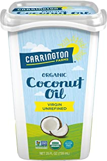 Carrington Farms Gluten Free, Unrefined, Cold Pressed, Virgin Organic Coconut Oil, 25 oz. (Ounce), Coconut Oil For Skin & Hair Care, Cooking, Baking, Smoothies