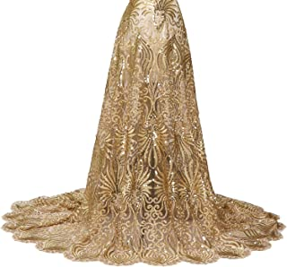 VANSZONE Sequin Pattern Beaded African lace Fabric 5 Yards French Nigeria lace Fabric Wedding Party Dress Fabric Mermaid Evening Dress Fabric (Gold)