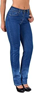 ESRA Women's Straight Cut Straight Fit Jeans up to Plus Size Plus Size 52, 54, 56# J260