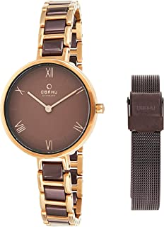 Obaku Women's Brown Dial Stainless Steel Band Watch - V195Lxvnsn-Emn, Analog Display, Quartz Movement