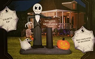 Gemmy Corp Nightmare Before Christmas 6FT Jack Skellington & Zero Welcome to Halloween Town Lighted Halloween Airblown Inflatable