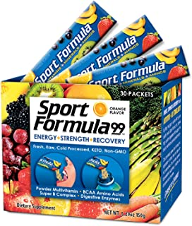 Vegan Superfood Daily Keto MultiVitamin for Men and Women BCAA BCCA Amino Acid Powder Packets Orange Mix Won't Upset Your Stomach Powdered Digestive Enzymes Vitamin B Natural Flavoring Energy Complex