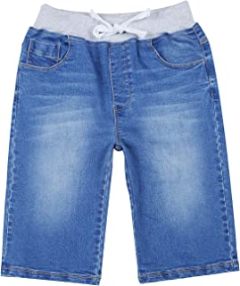 Boys' Kids' Rib Waistband Regular Fit Stretch Denim Shorts Jean