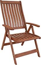 Sunnydaze Meranti Wood Outdoor Arm Chair with Teak Oil Finish - Multi-Positional Modern Rustic Outdoor Chair - Comfortable...