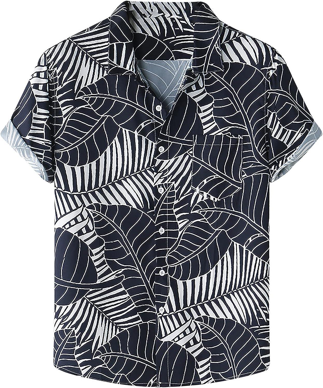 Hawaiian Print Shirt for Men Short Sleeve Summer Floral Beach Shirts Casual Loose Short Sleeve Button Shirt