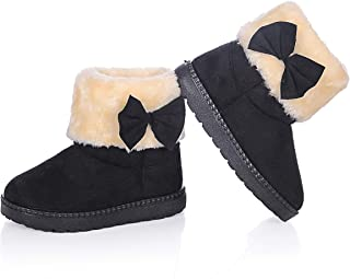 Baby Girls Fashion Cute Bowknot Fur Lining Princess Warm Snow Boots Toddler Winter Flat Shoes