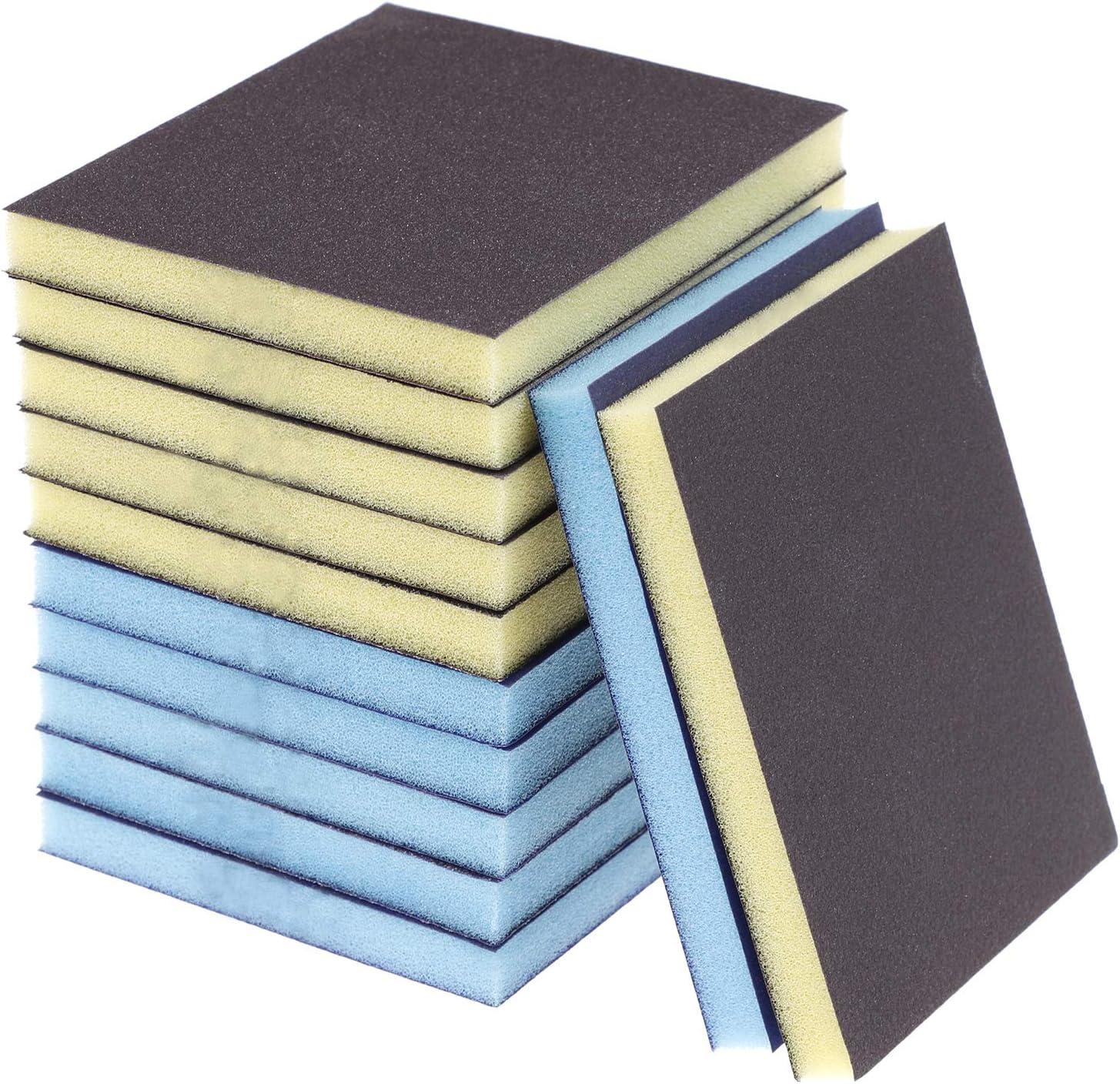12 Pieces Sanding Sponge Sanding Blocks,Reusable and Washable Sand Sponge Kit, Grade 120 (2 Colors)