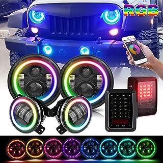 T-Former DOT Approved 7Inch LED Headlights W/RGB Halo Hi/Lo Beam Angel Eye + 4