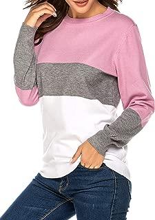Beyove Women's Color Block Crewneck Sweater Long Sleeve Knit Pullover Jumper Tops
