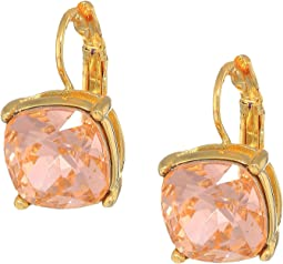 Gold Eurowire/Light Peach 12mm Faceted Square Stone Earrings
