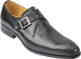 Cuir Real Noir Hommes Snakeskin Imprimer Mocassins Retro Vintage Robe Intelligente Formelle Chaussures Monk