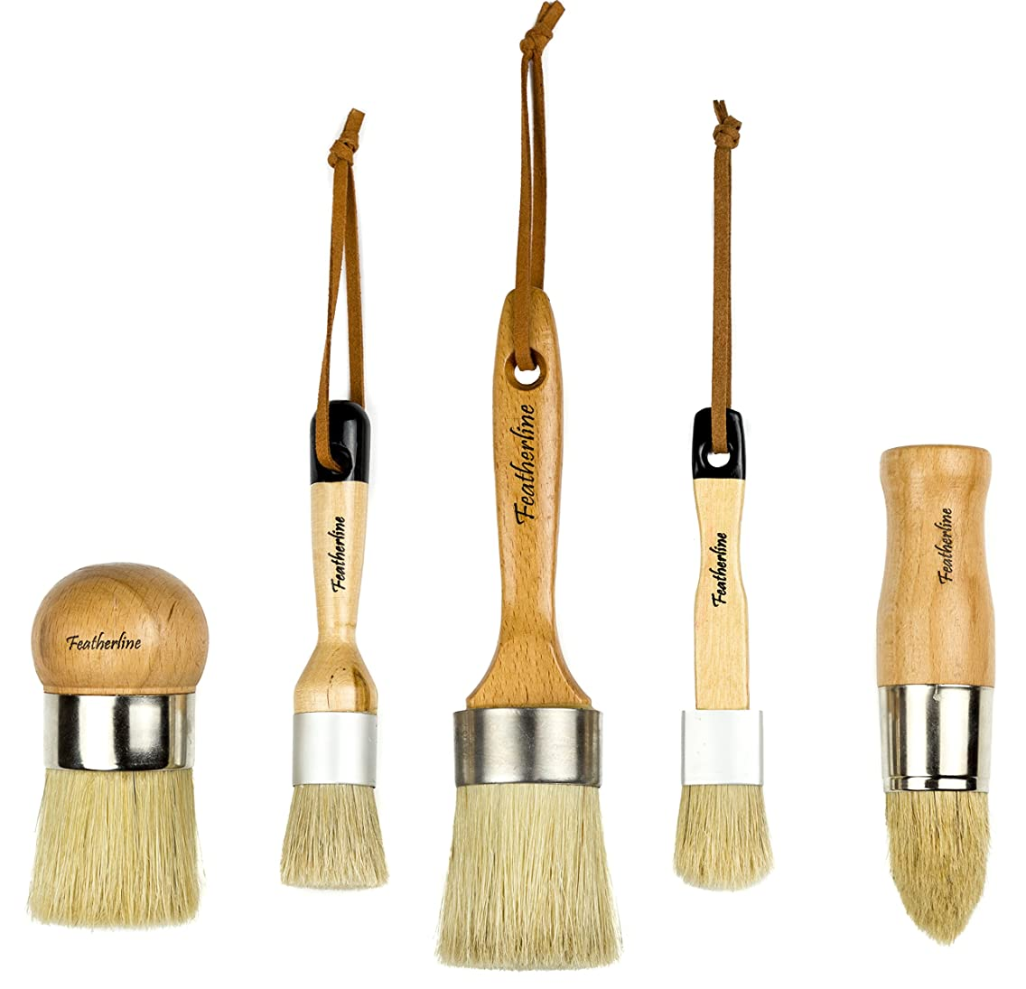 Featherline Series Pro Advanced Chalked Paint & Waxing 5 Brush Set   Top Results for Wax and Painting Projects   Use with All Brands of Chalked Paint